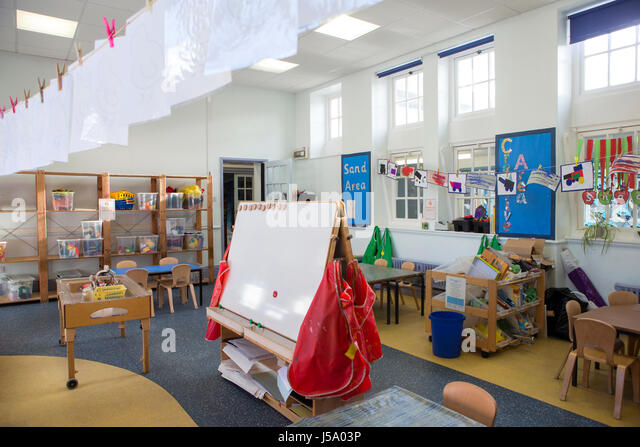 Landscape Image Of An Empty Nursery Classroom There Is A Whiteboard In The Middle