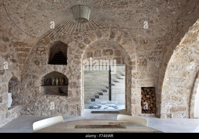 Exposed Stone Interior Of House, Jaffa, Tel Aviv, Israel   Stock Image