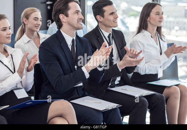 Happy Business Audience Audience Clapping Stoc...