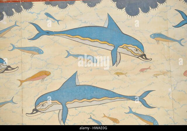 Palace of knossos mural stock photos palace of knossos for Dolphin mural knossos