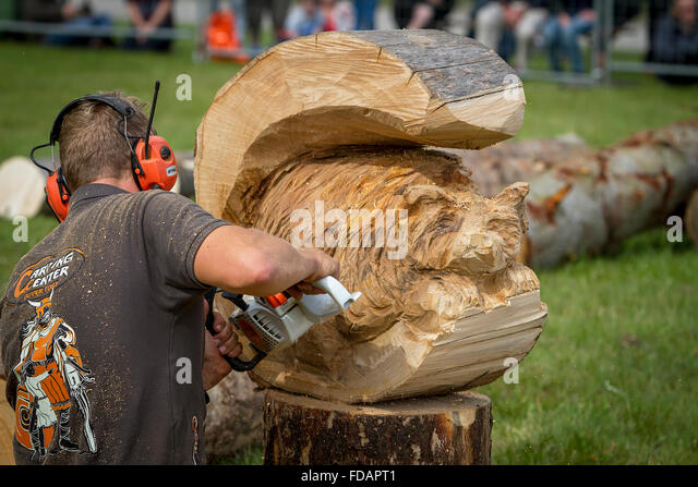 Norse wood carving stock photos