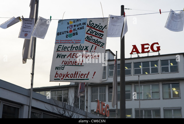 nuernberg protest signs hanging in front of the aeg stock image