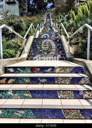 San Grancisco Mosaic Steps   Stock Image