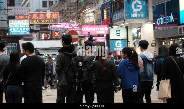Crowds at the Congested Ladies Market in Mongkok Hong Kong - Stock Image