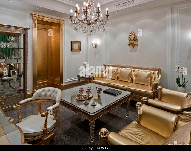 Show Room Luxury Interior In Moscow A Classic Style With Gold Furniture
