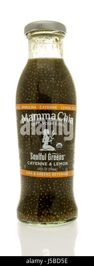 Winneconne, WI - 7 May 2017: A bottle of Mamma Chia soulful greens in chia and greens  flavor on an isolated background. - Stock Image
