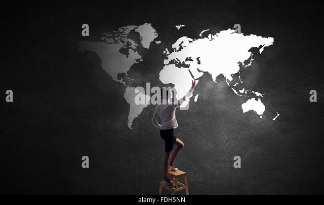 Girl climbing wall stock photos girl climbing wall stock images rear vew of businesswoman climbing chair and touching world map on wall stock image gumiabroncs Gallery