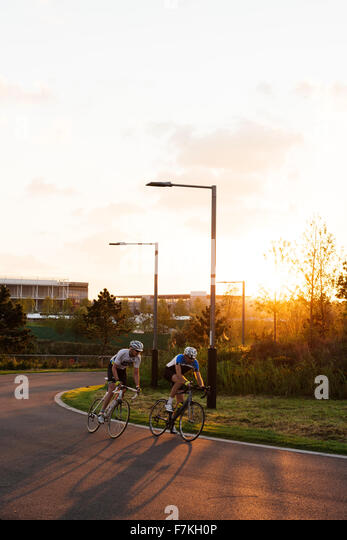 People Cycling On Track Outside The Velodrome Queen Elizabeth Olympic Park Stratford London