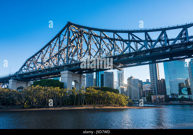 Iron train bridge (Story Bridge) across Brisbane River, Brisbane, Queensland, Australia, Pacific - Stock Image