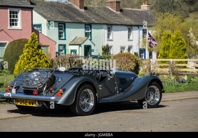 a picture of britishness a morgan sports car in a british village stock image