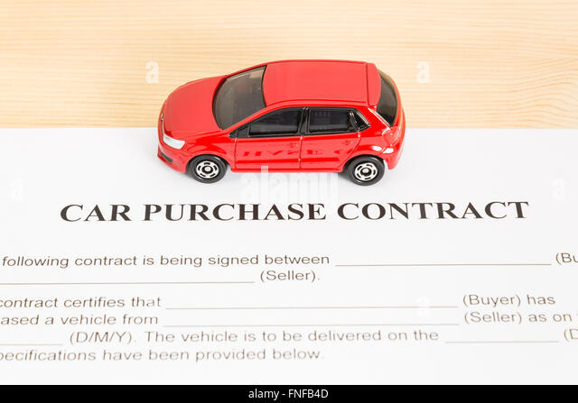 Car Purchase Contract With Red Car On Center. Auto Purchase Agreement Or  Legal Document