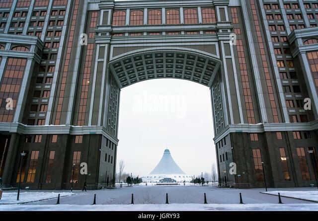 Modern architecture of Kazakhstan. Winter in new Astana, Kazakstan. 1 February 2017 - Stock Image