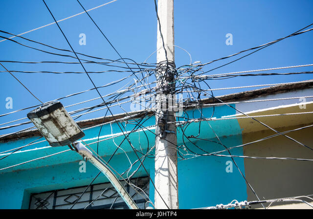 Tangle Of Electrical Wires In Ajijic Jalisco Mexico