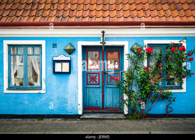 YSTAD, SWEDEN - JULY 28, 2015: Colorful house at summer day in idyllic village Ystad, Sweden - Stock Image