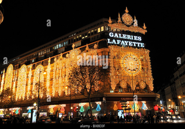 galeries lafayette department storeparis at night with christmas lighting stock image - Christmas Light Store