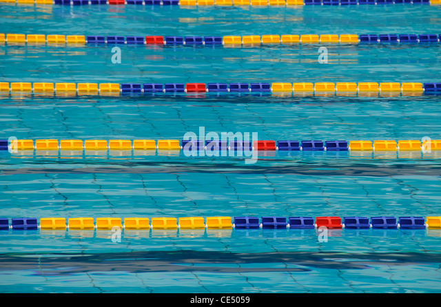 particular lane of an olympic swimming pool stock image