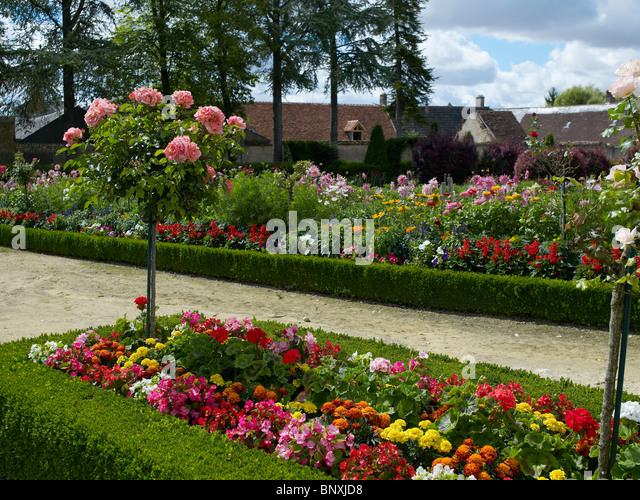 Colourful Borders In The Flower Garden At Bouges   Stock Image