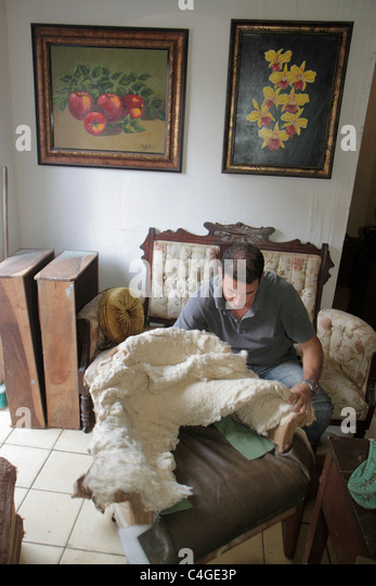 Santo Domingo Dominican Republic Ciudad Colonial Calle Sanchez Upholsterer  Job Trade Furniture Padding Stuffing   Stock