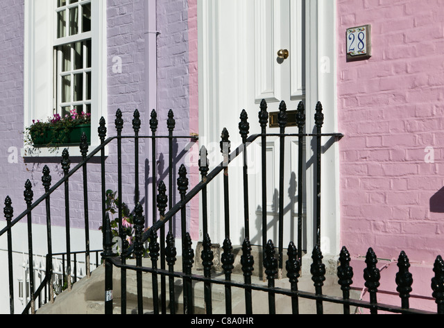 Elegant Iron Railings Outside Georgian Terraced House Bywater Street  Chelsea London England   Stock Image