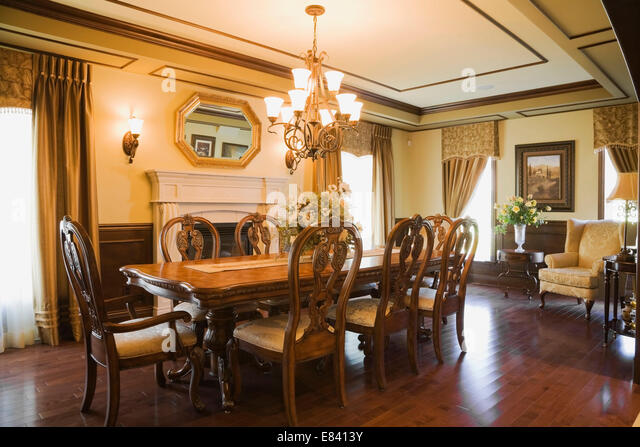 Luxurious old fashioned dining room stock photos for Old fashioned dining room tables