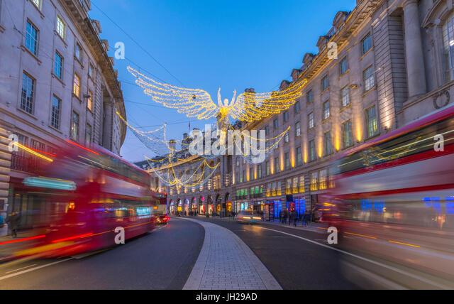Christmas Lights, Regent Street, West End, London, England, United Kingdom, Europe - Stock Image