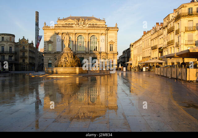 opera comedie place montpellier france stock photos opera comedie place montpellier france. Black Bedroom Furniture Sets. Home Design Ideas