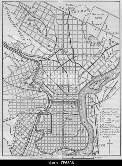 Map Of Philadelphia Stock Photos  Map Of Philadelphia Stock