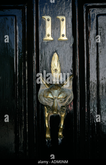 A Brass Door Knocker In The Shape Of A Fox Coggeshall, Essex East Anglia  England