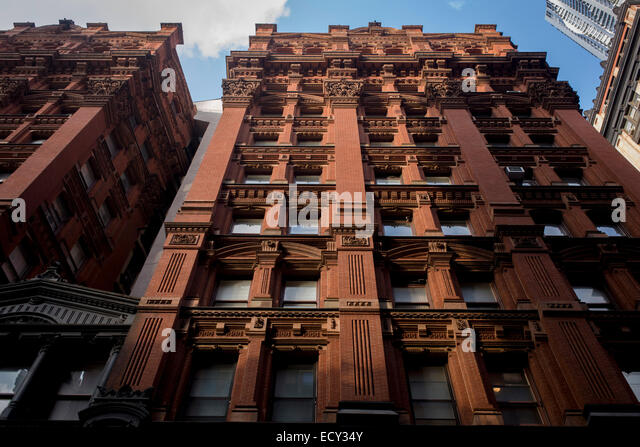Red Brick Apartment Building In Manhattan, New York City.   Stock Image