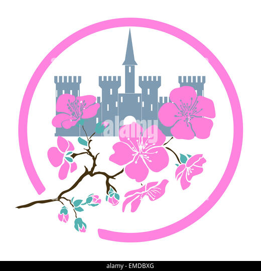 Cartoon cherry symbol stock photos cartoon cherry symbol stock twig sakura blossoms and castle in circle vector illustration stock image sciox Images