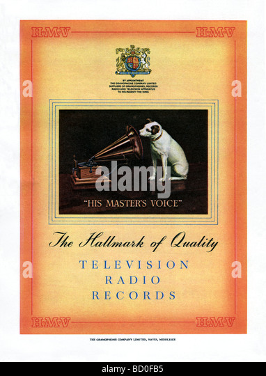 Hmv record stock photos hmv record stock images alamy 1951 advertisement for hmv records televisions and radios stock image gumiabroncs Images