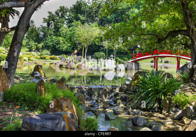 Japanese Garden Cherry Blossom Bridge japanese garden singapore stock photos & japanese garden singapore