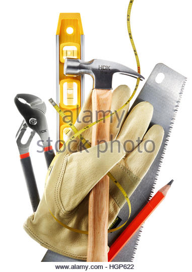 Home Building, Remodeling, Renovation, Builders Tools, Level Hammer Leather  Gloves Saw Pencil