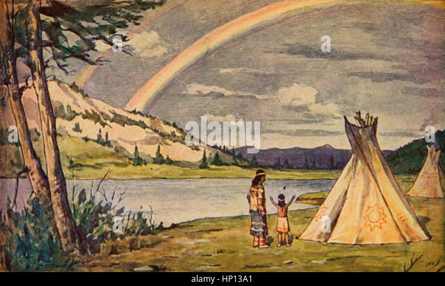 song hiawatha henry wadsworth longfellow stock photos song  saw the rainbow in the heaven scene from epic poem the song of hiawatha