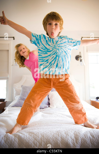 Two Children Only Bed Playing Stock Photos Two Children