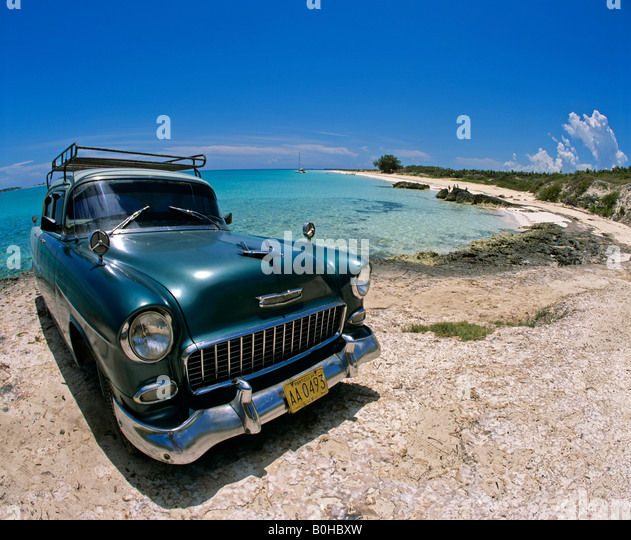 Classic Cars Beach Cayo Guillermo Stock Photos Classic Cars