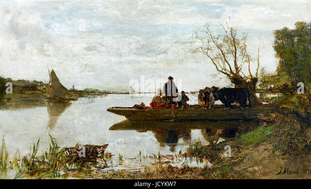 Jacob Maris, Ferry 1870 Wood and plaster frame, partially gilded. Gemeentemuseum Den Haag, The Hague, Netherlands. - Stock Image