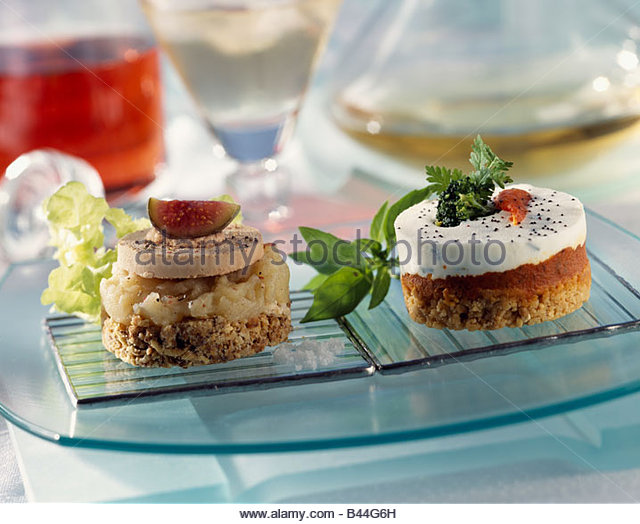 Goats cheese canape stock photos goats cheese canape for Foie gras canape