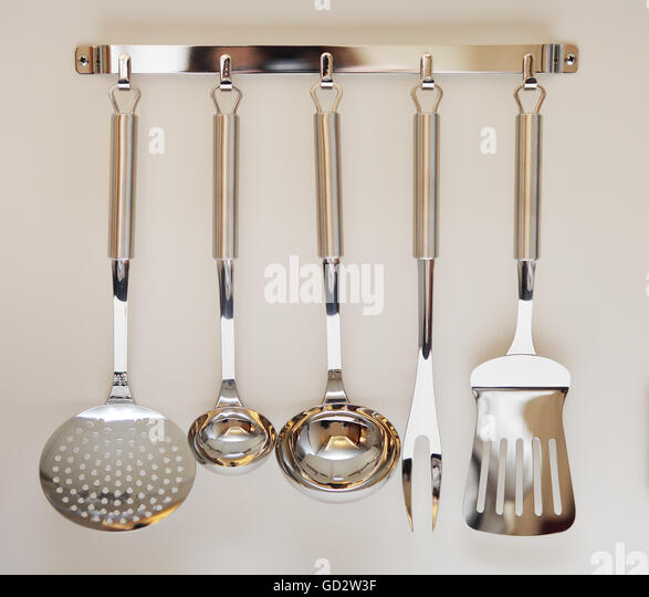 Kitchen utensil wall stock photos kitchen utensil wall for Modern kitchen utensil