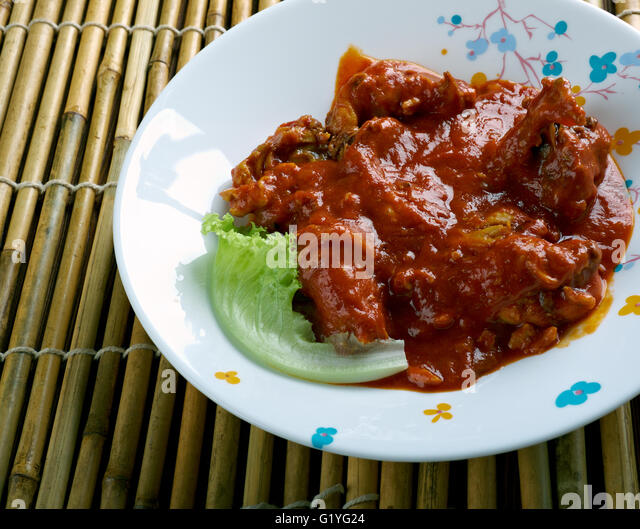 Groundnut Soup - West Africa Spicy Chicken Peanut Soup - Stock Image