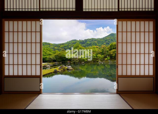 Japanese sliding doors and beautiful pond garden - Stock Image & Japanese Sliding Doors Stock Photos u0026 Japanese Sliding Doors Stock ... pezcame.com