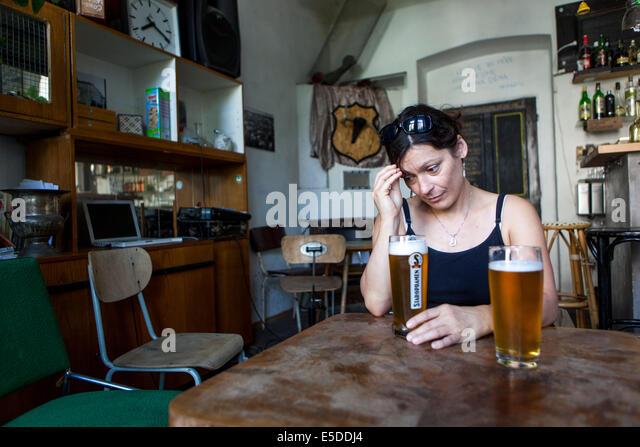 Prague beer tourist stock photos prague beer tourist for Bar food zizkov