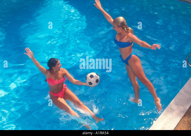 Girls Jumping Into Pool Stock Photos Girls Jumping Into