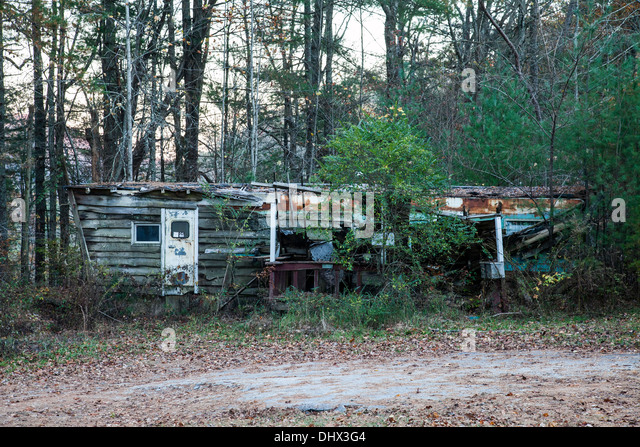 Falling Down And Overgrown Mobile Home Trailer Along The Black Rock Mountain State Park Road Near