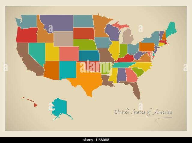 United States Map Stock Photos United States Map Stock Images - Usa map color