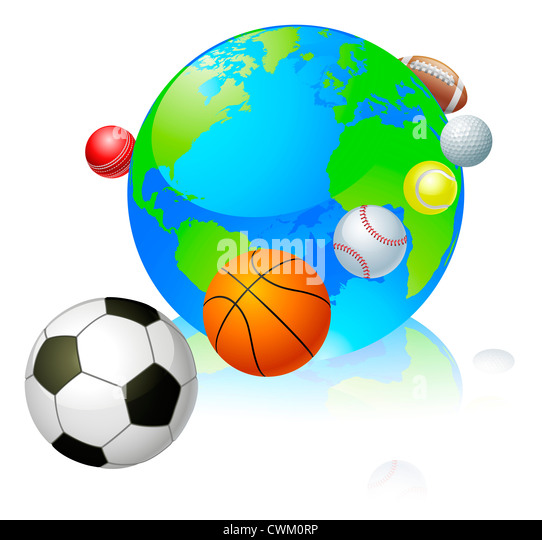Tennis map balls stock photos tennis map balls stock images alamy sports globe world concept a globe with different sports balls flying around it gumiabroncs Images