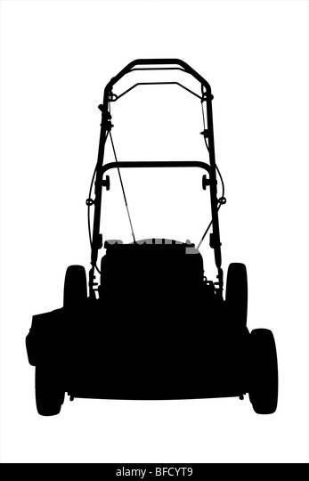 commercial lawn mower silhouette. an illustration of a lawnmower silhouette on white background. - stock image commercial lawn mower