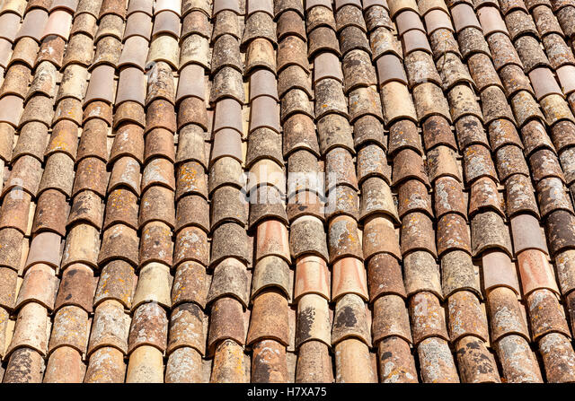 Traditional Roofing With Clay Ceramic Tiles,Roofing Tile   Stock Image