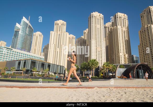 D Exhibition Jbr : Dubai marina beach stock photos