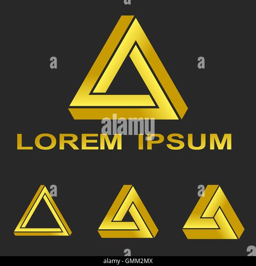 Impossible triangle stock photos impossible triangle stock golden penrose triangle technology symbol set stock image malvernweather Images